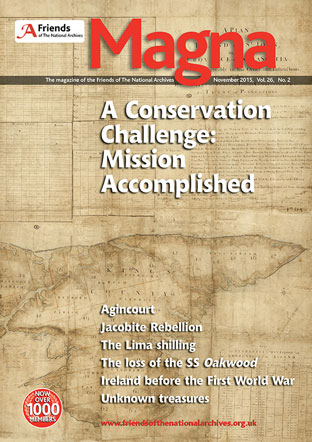 An image of the front cover of the November 2015 issue of Magna.