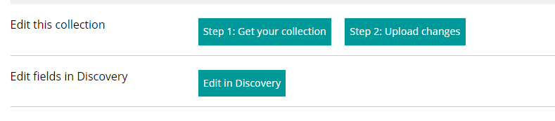 a screenshot of the edit functionality in Manage Your Collections