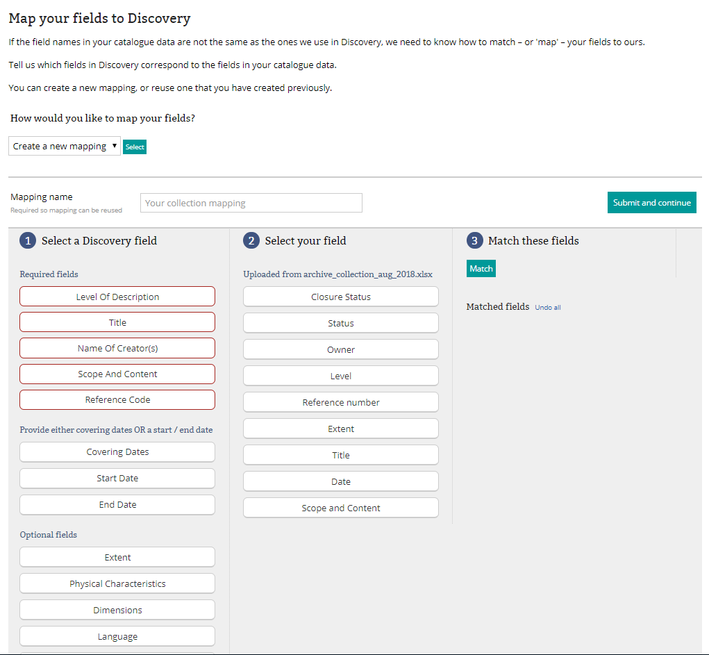 a screenshot of the metadata mapper functionality on Manage Your Collections