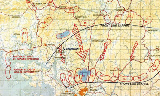 Map showing the Spring offensive