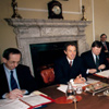 Tony Blair chairs a Cabinet meeting at Number 10 in 1998