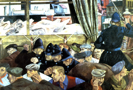 Vivid imagery expressing the struggle between strikers and police during the General Strike. Detail from a mural by Cliff Rowe entitled 'The General Strike'.