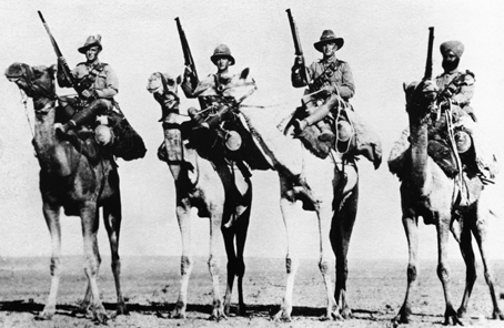 The Camel Corps, deployed on guerilla operations in Egypt and Palestine in 1918, was made up of diverse commonwealth troops.