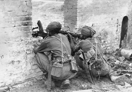 Sikh troops of the 19th Indian Division at Fort Dufferin, Mandalay in March 1945.