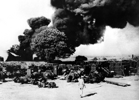 Electrical equipment at the Yenangyaung oilfields is destroyed as part of the scorched earth policy used in the face of Japanese advance.