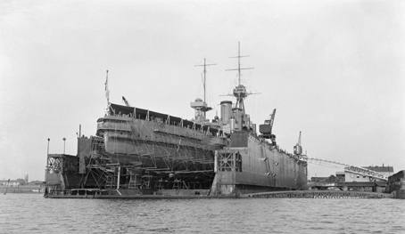 The former First World War battleship, HMS Iron Duke, was converted to a gunnery training ship during the 1930s.