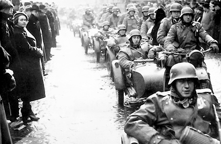 German troops enter Prague on 15 March 1939.