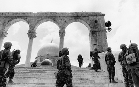 Israeli paratroopers at the Dome of the Rock after they succeed in taking Jerusalem in the Six-Day War.