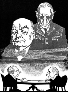 Winston Churchill and Charles de Gaulle are caricatured as ghosts looming over the 1971 summit talks of Edward Heath and Georges Pompidou.