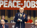 James Callaghan, former Labour Party Leader and Prime Minister, addresses party members.