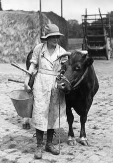 A woman pupil at an agricultural college in 1917.
