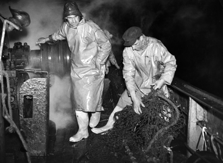 Trawlermen working on the North Sea in 1953.