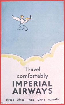 A 1930s poster advertising Imperial Airways, which developed air routes across the world.