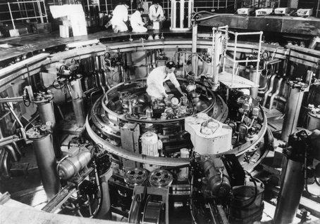 Mechanics working on the reactor at Dounreay Atomic Power Station in November 1959.