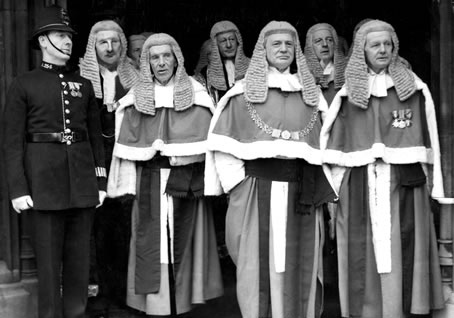 High court judges at the opening of Parliament in 1946.
