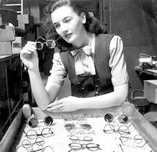 Checking orders for new spectacles.