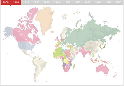 World map revealing geo-political change throughout the 20th century.
