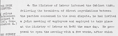 Cabinet Conclusion 12 February 1924. The Dock Dispute