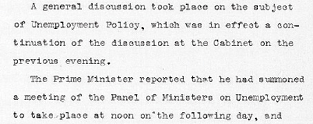 Cabinet Conclusion 21 January 1931. Unemployment Policy