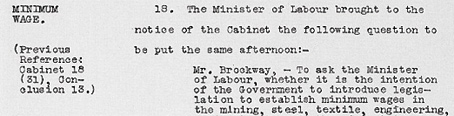 Cabinet Conclusion 31 March 1931. Minimum Wage