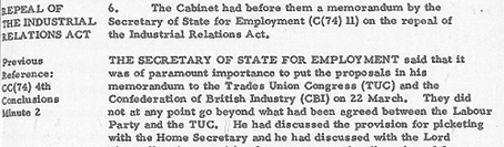 Cabinet Conclusion 21 March 1974. Repeal of the Industrial Relations Act
