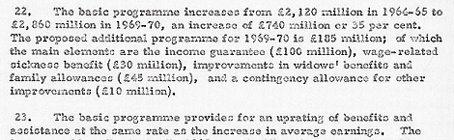 Cabinet Memorandum 12 July 1965. Benefits and Assistance