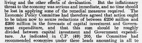 Cabinet Conclusion 21 October 1949. The Economic Situation