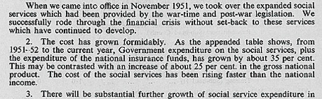 papers 1955 cabinet memorandum on increased cost of social services