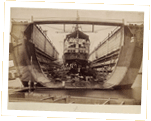 Photograph of the Urgent in a floating dock. Bermuda, 1868-9 Cat ref: ADM 195/5 f 31. Crown Copyright.