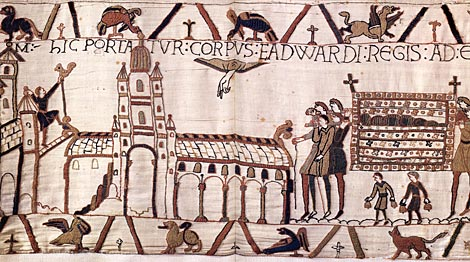 Edward the Confessor's body being carried to Westminster Abbey as depicted on the Bayeux Tapestry.  By special permission of the City of Bayeux.  Detail of the Bayeux Tapestry, 11th century