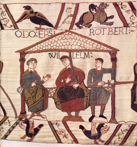 William and his half-brothers Odo Bishop of Bayeux and Robert of Mortain in the Bayeux Tapestry. By special permission of the City of Bayeux. Detail of the Bayeux Tapestry, 11th century