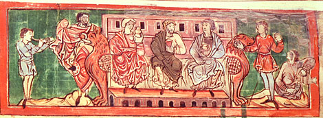 Anglo-Saxon noblemen at leisure. Anglo-Saxon calendar, 11th century.  By permission of The British Library.  Cotton Tiberius B. V, Part 1.