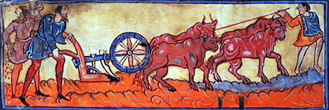 Men plough with oxen.  Anglo-Saxon calendar, 11th century.  By permission of The British Library.  Cotton Tiberius B. V, Part 1.