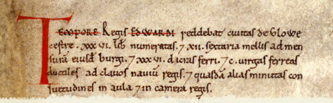 Domesday entry for Gloucester, Gloucestershire. Catalogue reference: E 31/2/1 f.162. Digital Images and Translation reproduced by kind permission of Editions Alecto Limited