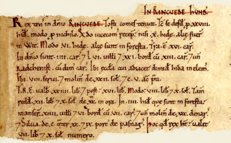 Domesday entry for Ringwood, Hampshire.  Catalogue reference: E 31/2/1 f.39.  Digital Images and Translation reproduced by kind permission of Editions Alecto Limited