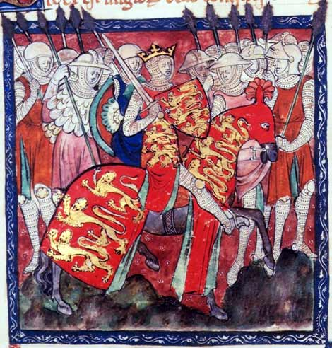 King William I armed for battle accompanied by knights and soldiers.  By permission of The British Library. Cotton Claudius D. II.  14th century