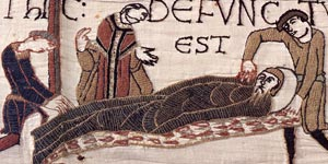 The Bayeux tapestry showing the death and funeral of Edward the Confessor - opens in a new window