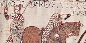 The Bayeux Tapestry showing the death of Harold