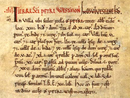 Domesday Book, Westminster E31/2/1