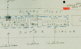Sketch map of police beat around Wallis Simpson's residence at 16 Cumberland Terrace