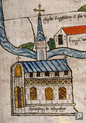 Chertsey Abbey - Detail from a medieval map 15th Century (E 164/25 f.222)