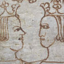 Marginalia drawing of Edward I and Philip IV of France, 25/26 Edw I. Catalogue reference: E 368/69