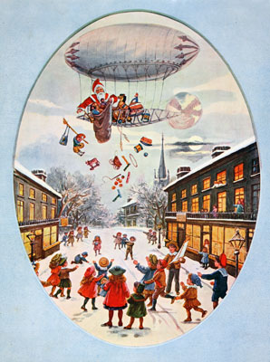 Christmas scene, Santa's airship, 1903. Catalogue reference: COPY 1/207 (3)
