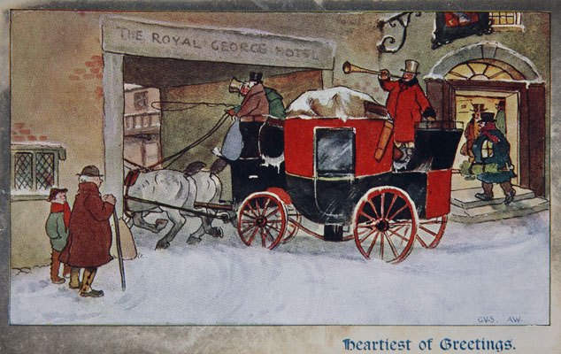 Royal George Hotel with coach and horses, Christmas postcard, 1905. Catalogue reference: COPY 1/230 (146)