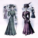 Edwardian fashion plate for Ladies' Spring and Summer fashions, 1909. Catalogue reference: COPY 1/278 folio 99