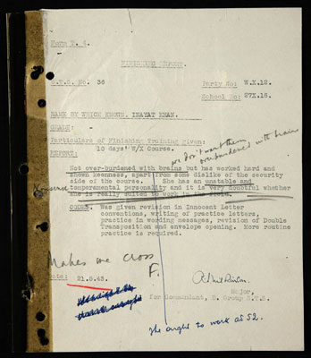 Personal file of Noor Inayat Khan, SOE report, 1939-1944