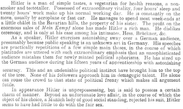 A short description of Hitler prepared by the British Embassy in Berlin January 1937 (FO 408/67)