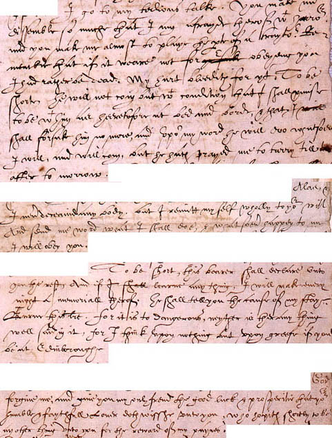Extracts from a letter allegedly from Mary to Earl Bothwell (SP 53/2)