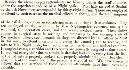 An extract from the 'Report upon the state of the hospitals of the British Army in the Crimea and Scutari' (WO 33/1)