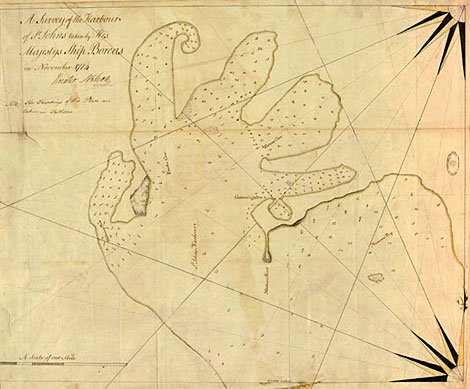 Chart by Nelson (Survey of St John, Virgin Islands, 1784) - Catalogue reference MPI 1/95